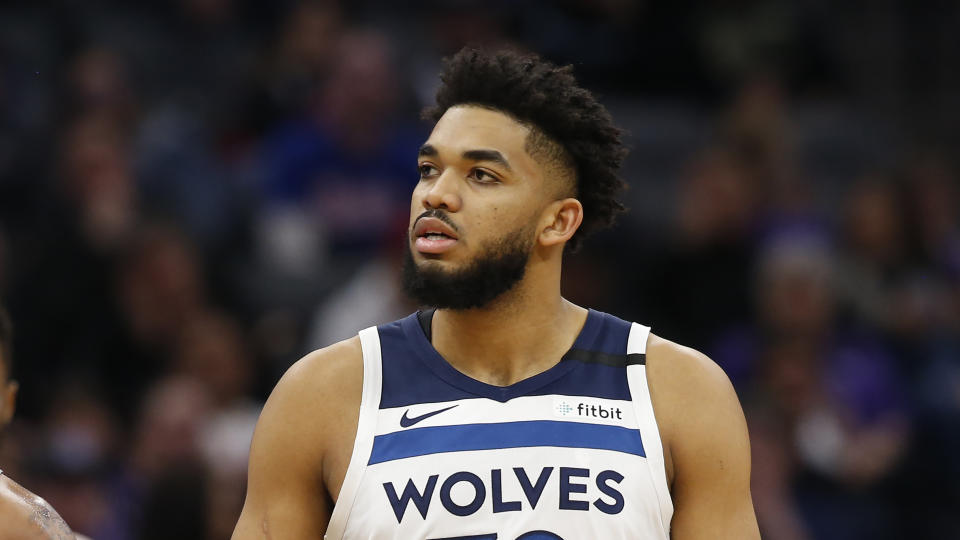 Minnesota Timberwolves center Karl-Anthony Towns during the second half of an NBA basketball game against the Sacramento Kings in Sacramento, Calif., Monday, Feb. 3, 2020. The Kings won 113-109. (AP Photo/Rich Pedroncelli)