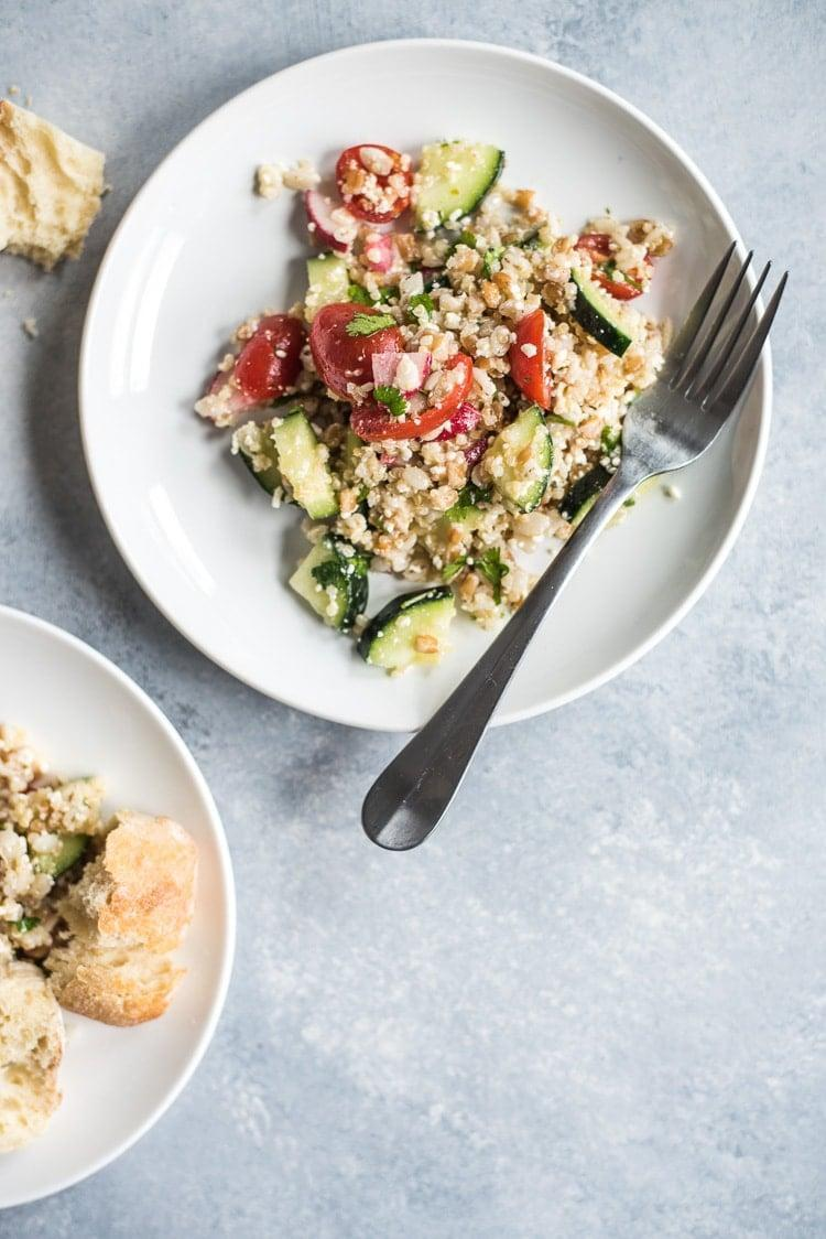 """<p>Stay full long after you finish off the last bite of this meal. Made with cucumbers, tomatoes, and radishes, this dish is complete with great flavors. Topped off with a citrusy lime juice, crisp cilantro, and salty Cotija cheese, we suggest making an extra batch of this just in case.</p> <p><strong>Get the recipe:</strong> <a href=""""https://www.isabeleats.com/mexican-quinoa-salad-farro-barley-video/"""" class=""""link rapid-noclick-resp"""" rel=""""nofollow noopener"""" target=""""_blank"""" data-ylk=""""slk:Mexican quinoa salad with farro and barley"""">Mexican quinoa salad with farro and barley</a></p>"""