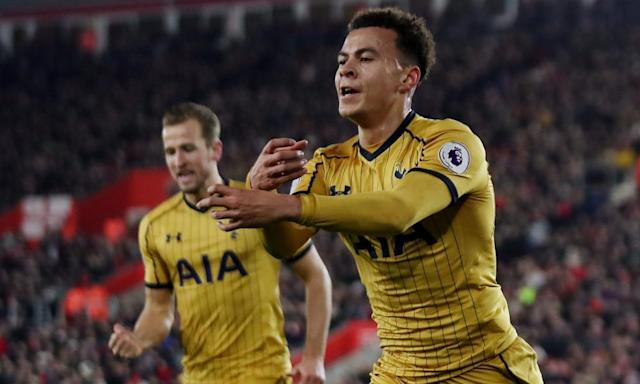 """<span class=""""element-image__caption"""">Tottenham's Dele Alli is in contention for the PFA Young Player of the Year award with Harry Kane, left, but is the most notable omission from the senior list.</span> <span class=""""element-image__credit"""">Photograph: Eddie Keogh/Reuters</span>"""