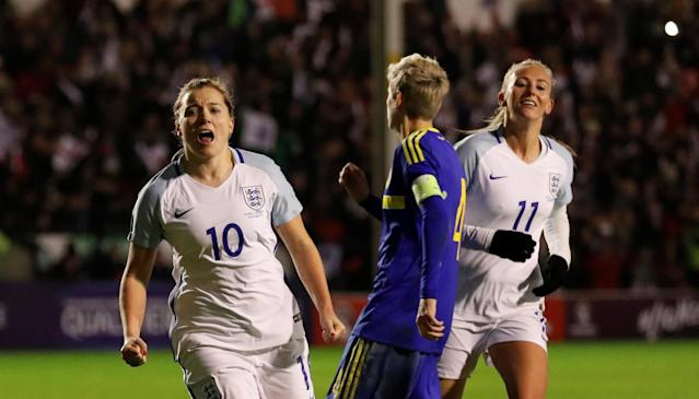 Soccer Football - Women's World Cup Qualifier - England vs Bosnia & Herzegovina - The Banks's Stadium, Walsall, Britain - November 24, 2017 England's Fran Kirby celebrates after scoring their fourth goal Action Images via Reuters/Andrew Boyers