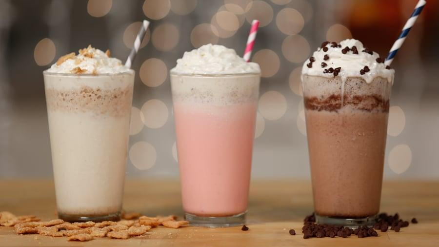 """<p>A secret-menu favorite, people can't seem to get enough of these fun Frappuccino flavors. Whip up whichever one you're craving, and enjoy it anytime of the day for a sugary pick-me-up!</p> <p><strong>Original Starbucks Drinks:</strong> <a href=""""https://www.popsugar.com/food/Which-Starbucks-Frappuccino-Best-37659234"""" class=""""link rapid-noclick-resp"""" rel=""""nofollow noopener"""" target=""""_blank"""" data-ylk=""""slk:cinnamon roll, cotton candy, and red velvet cake Frappuccinos"""">cinnamon roll, cotton candy, and red velvet cake Frappuccinos</a></p> <p><strong>Homemade Versions:</strong> <a href=""""https://www.popsugar.com/food/Starbucks-Secret-Menu-Frappuccinos-34888742"""" class=""""link rapid-noclick-resp"""" rel=""""nofollow noopener"""" target=""""_blank"""" data-ylk=""""slk:Cinnamon Toast Crunch, cotton candy, and chocolate-chip brownie Frappuccinos"""">Cinnamon Toast Crunch, cotton candy, and chocolate-chip brownie Frappuccinos</a></p>"""