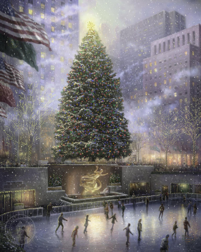 "This undated photo provided by The Thomas Kinkade Company via PR Newswire shows ""Christmas in New York"" by Thomas Kinkade. Kinkade, whose brushwork paintings of idyllic landscapes, cottages and churches have been big sellers for dealers across the United States, died Friday, April 6, 2012, a family spokesman said. (AP Photo/PR Newswire, The Thomas Kinkade Company)"