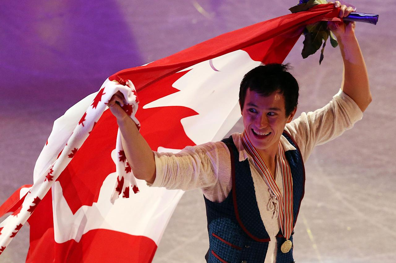 LONDON, CANADA - MARCH 15:  Patrick Chan of Canada celebrates his gold medal in the Mens Free Skating Program during the 2013 ISU World Figure Skating Championships at Budweiser Gardens on March 15, 2013 in London, Ontario, Canada.  (Photo by Dave Sandford/Getty Images)