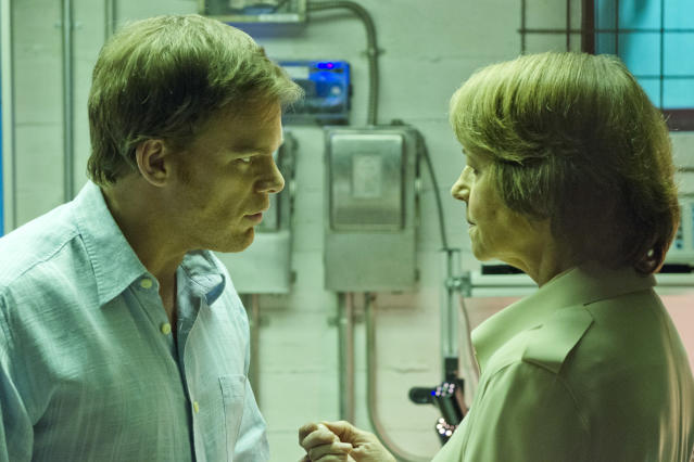 "Michael C. Hall as Dexter Morgan and Charlotte Rampling as Dr. Vogel in the ""Dexter"" Season 8 episode, ""Scar Tissue."""