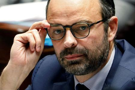 French Prime Minister Edouard Philippe reacts during the questions to the government session at the National Assembly in Paris