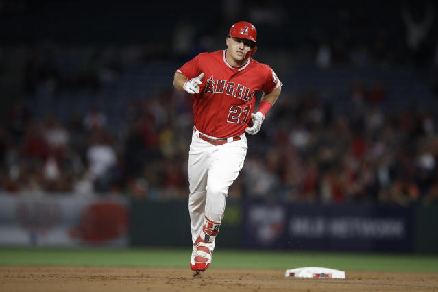 Mike Trout obliterated a baseball on Wednesday that would be the longest home run in 2018 by a long shot if estimates hold up. (AP)