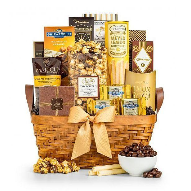 """<p><strong>Gift Tree</strong></p><p>gifttree.com</p><p><strong>$49.95</strong></p><p><a href=""""https://go.redirectingat.com?id=74968X1596630&url=https%3A%2F%2Fwww.gifttree.com%2Fp3%2F4364%2Fas-good-as-gold-1%3Frefer%3Dgapla%26discount%3DGTSH15off75%26mrkgcl%3D1226%26mrkgadid%3D3324180053%26adpos%3D1o1%26creative%3D318842696042%26device%3Dc%26network%3Dg%26gclid%3DCj0KCQjwg73kBRDVARIsAF-kEH-5rTmj-i7GDi7UMxHURLe6eFr1kkrVz_mLAKQq-ugVgvtTUG1zwWUaAtr8EALw_wcB&sref=https%3A%2F%2Fwww.goodhousekeeping.com%2Fholidays%2Fmothers-day%2Fg19694294%2Fmothers-day-gift-basket-ideas%2F"""" rel=""""nofollow noopener"""" target=""""_blank"""" data-ylk=""""slk:Shop Now"""" class=""""link rapid-noclick-resp"""">Shop Now</a></p><p>This luxe basket is as delicious as it is beautiful. Gold-wrapped nuts, popcorn, candy, and chocolate make a big impact without breaking the bank. </p>"""