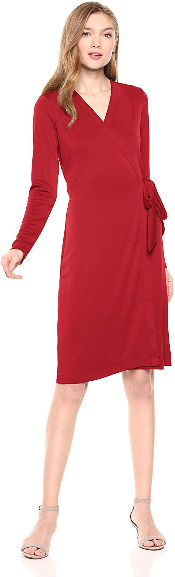 <p>Wear this <span>Lark & Ro Signature Long-Sleeve Wrap Dress</span> ($43) with strappy heels.</p>