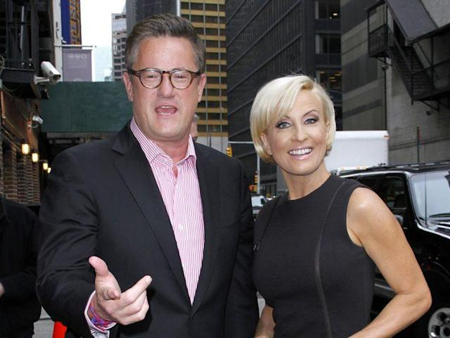 "Joe Scarborough and Mika Brzezinski arrive for a taping of ""Late Show with David Letterman"" at the Ed Sullivan Theater in New York on May 8, 2012. (Photo: Donna Ward/Getty Images)"