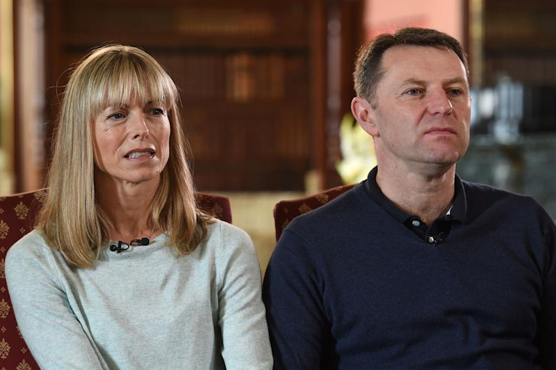 EMBARGOED TO 1915 WEDNESDAY JUNE 3 File photo dated 30/4/2017 of the parents of Madeleine McCann, Kate and Gerry McCann. A German prisoner has been identified as a suspect in the disappearance of Madeleine, detectives have revealed. The Metropolitan Police have not named the man, 43, who is described as white with short blond hair, possibly fair, and about 6ft tall with a slim build.