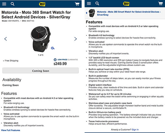 Best Buy Moto 360 product page