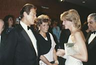 <p>Roger Moore may or may not have been inspired by his on-screen person, James Bond, when he picked out this tuxedo to meet Princess Diana at the London premiere of <em>Octopussy. </em></p>