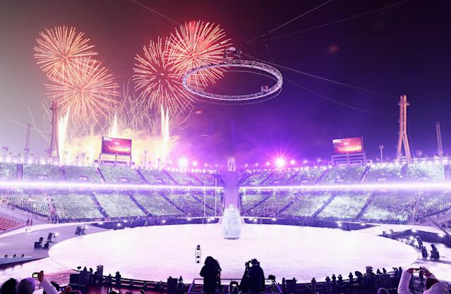 <p>Fireworks explode during the Opening Ceremony of the PyeongChang 2018 Winter Olympic Games at PyeongChang Olympic Stadium on February 9, 2018 in Pyeongchang-gun, South Korea. (Photo by Jamie Squire/Getty Images) </p>