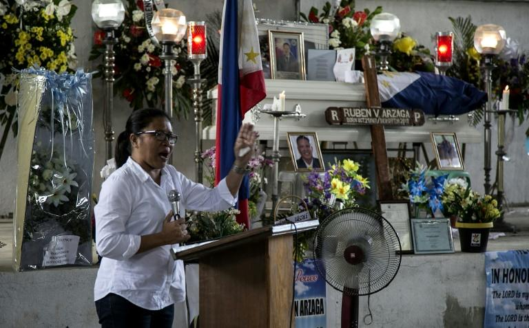 Nieves Rosento, mayor of the town of El Nido, Palawan island, the Philippines, speaks at the wake of murdered environmental para-enforcer Ruben Arzaga, from the Palawan NGO Network Inc (PNNI)