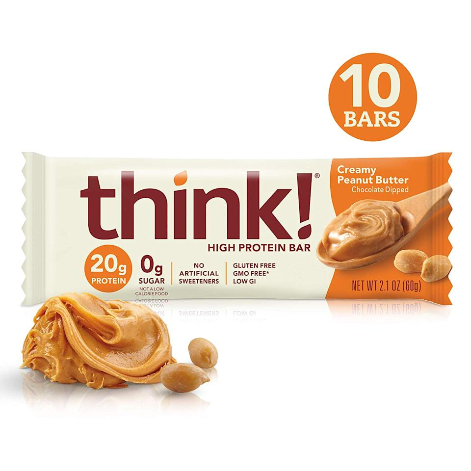think! High Protein Bars- Creamy Peanut Butter, 10 count (Photo: Amazon)