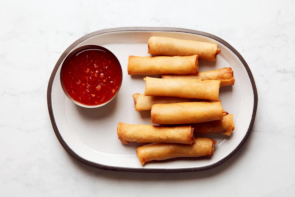 "Nothing's better than freshly-fried lumpia. Except for lumpia that you were smart enough to <a href=""https://www.epicurious.com/expert-advice/how-to-make-lumpia-article?mbid=synd_yahoo_rss"" rel=""nofollow noopener"" target=""_blank"" data-ylk=""slk:wrap in advance"" class=""link rapid-noclick-resp"">wrap in advance</a> so that the frying was no trouble at all. <a href=""https://www.epicurious.com/recipes/food/views/lumpia-leah-cohen?mbid=synd_yahoo_rss"" rel=""nofollow noopener"" target=""_blank"" data-ylk=""slk:See recipe."" class=""link rapid-noclick-resp"">See recipe.</a>"