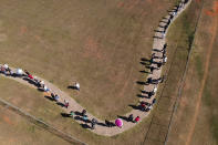 A line of people snakes around a field to enter a COVID-19 vaccination site, as people over age 30 became eligible for a vaccine in Brasilia, Brazil, Tuesday, Aug. 3, 2021. (AP Photo/Eraldo Peres)