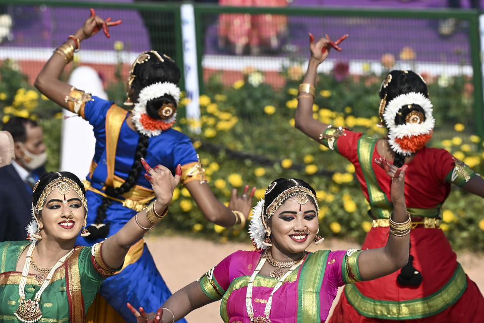 Performers dance on a float on Rajpath during the Republic Day parade in New Delhi on January 26, 2021. (Photo by Jewel SAMAD / AFP) (Photo by JEWEL SAMAD/AFP via Getty Images)