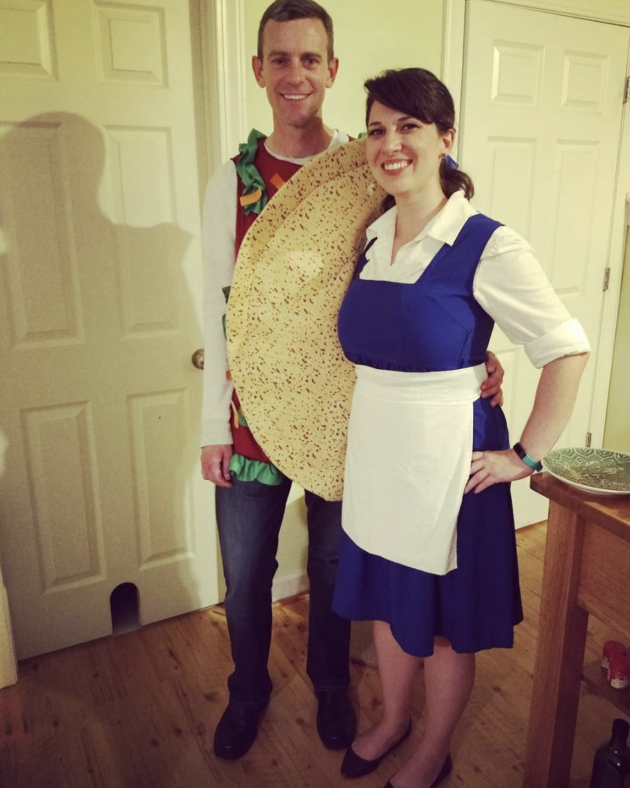 """<p>Turn a fast-food chain into a costume! These two dressed as a taco and as Belle from <em>Beauty and the Beast</em> to make """"Taco Belle.""""</p><p><a class=""""link rapid-noclick-resp"""" href=""""https://www.amazon.com/Rasta-Imposta-Taco-Tan-Standard/dp/B0011FU3NC/?tag=syn-yahoo-20&ascsubtag=%5Bartid%7C10072.g.27868801%5Bsrc%7Cyahoo-us"""" rel=""""nofollow noopener"""" target=""""_blank"""" data-ylk=""""slk:SHOP TACO"""">SHOP TACO</a></p>"""