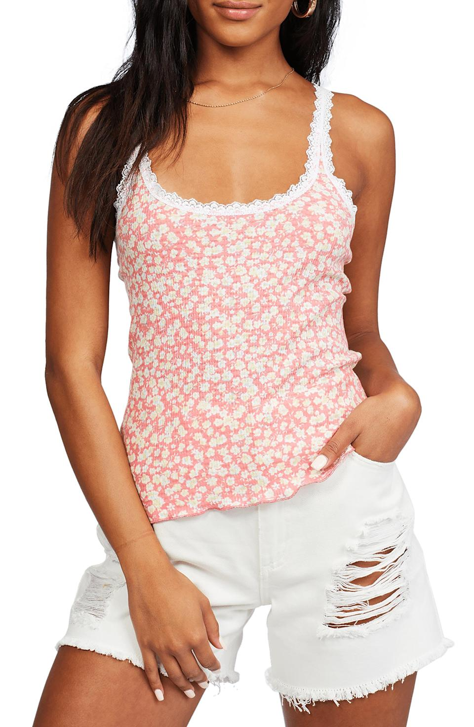 """<p><strong>BILLABONG</strong></p><p>nordstrom.com</p><p><strong>$25.17</strong></p><p><a href=""""https://go.redirectingat.com?id=74968X1596630&url=https%3A%2F%2Fwww.nordstrom.com%2Fs%2Fbillabong-little-love-floral-lace-trim-tank%2F5908625&sref=https%3A%2F%2Fwww.womenshealthmag.com%2Flife%2Fg36999215%2Fviral-tiktok-items-nordstrom-sale%2F"""" rel=""""nofollow noopener"""" target=""""_blank"""" data-ylk=""""slk:Shop Now"""" class=""""link rapid-noclick-resp"""">Shop Now</a></p><p>You've probably caught on that it's impossible to have too much floral this season, but no matter how many floral sundresses you get, you have to add this lace-trim cami to your cart. TikTok loves how lightweight the fabric is and how good the print looks with pretty much anything you pair it with. </p><p>You'll love wearing it out with some white denim, but it's comfy enough to pair with your sweats at home, too.</p>"""