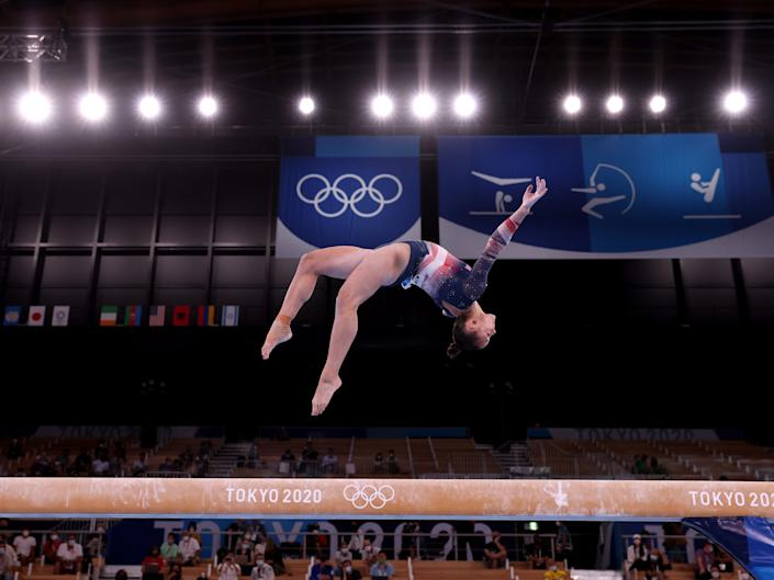 Sunisa Lee of Team United States competes on balance beam during the Women's All-Around Final at the Tokyo Olympics