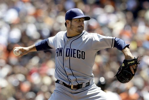 San Diego Padres pitcher Jason Marquis delivers against the San Francisco Giants during the fourth inning of a baseball game in San Francisco, Wednesday, July 25, 2012. (AP Photo/Jeff Chiu)
