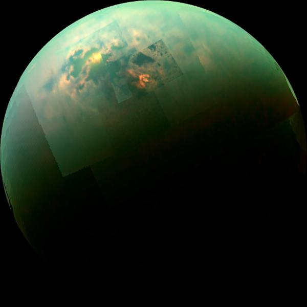 NASA's Cassini spacecraft captures a near-infrared, color mosaic on October 31, 2014, showing the sun glinting off of Titan's north polar seas