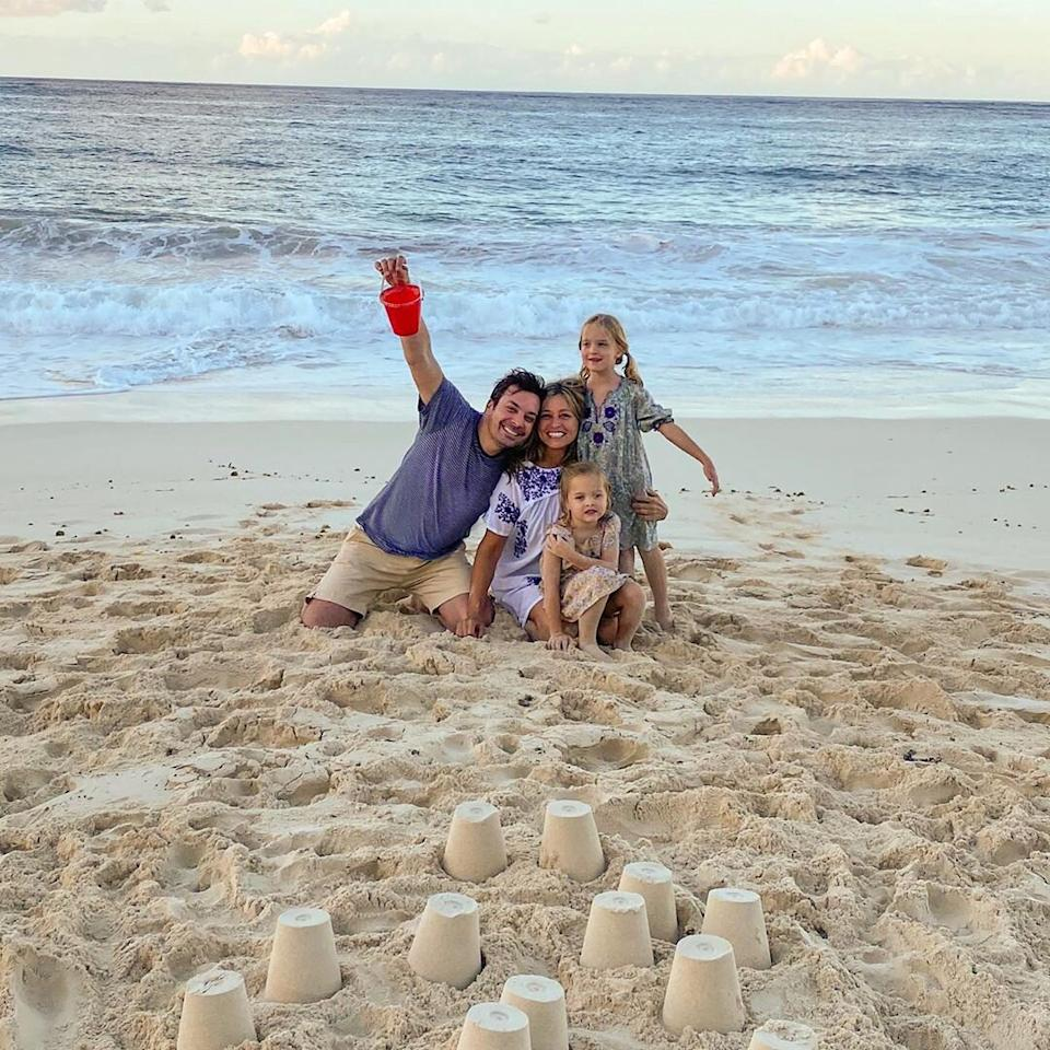 """Fallon shared a rare photo of his daughters to Instagram in Feb. 2020, <a href=""""https://people.com/parents/jimmy-fallon-buckets-of-fun-bahamas-daughters-winnie-frances/"""">commemorating a family trip to the Bahamas</a>.  In the photo, Fallon smiles, a bucket held high, with his wife <a href=""""https://people.com/celebrity/jimmy-fallon-marries-producer-girlfriend/"""">Nancy Juvonen</a>and their two daughters,<a href=""""https://people.com/parents/jimmy-fallon-welcomes-daughter-frances-cole/"""">Frances Cole</a>, 5, and<a href=""""https://people.com/parents/jimmy-fallon-nancy-juvonen-welcome-daughter-winnie-rose/"""">Winnie Rose</a>, 6.  """"Buckets of fun in the Bahamas! 🇧🇸,"""" the father of two <a href=""""https://www.instagram.com/p/B9E__DMgtQf/"""">captioned</a> the Instagram photo."""