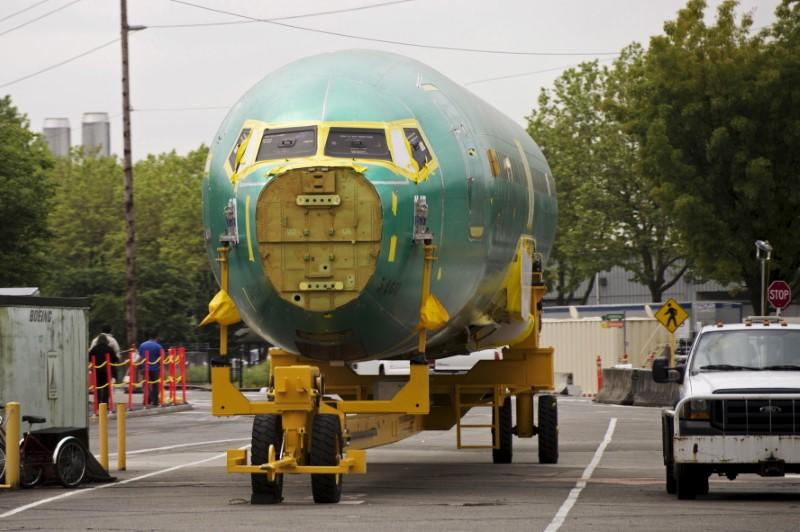 A Boeing 737 aircraft fuselage is seen at Boeing's 737 airplane factory in Renton