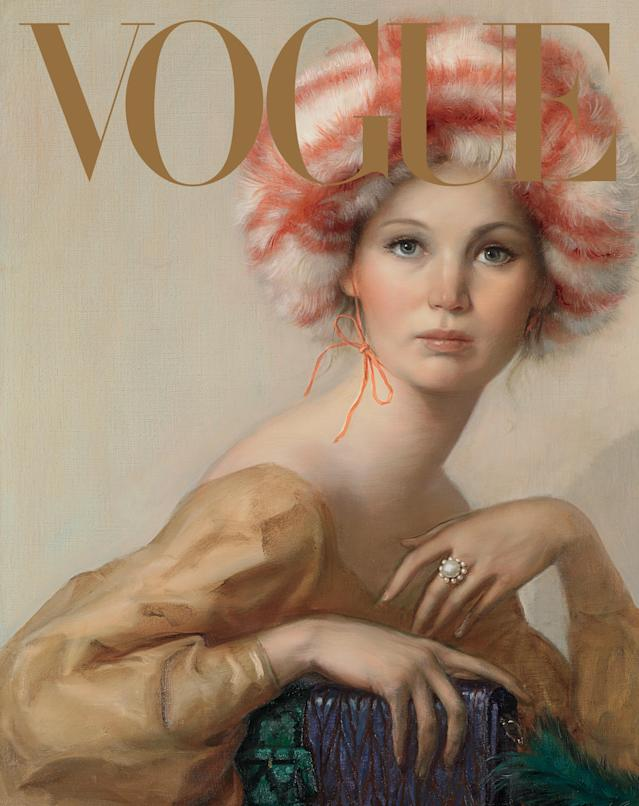 Jennifer Lawrence wearing a Miu Miu dress, hat, and bag. (Photo: John Currin portrait for Vogue)