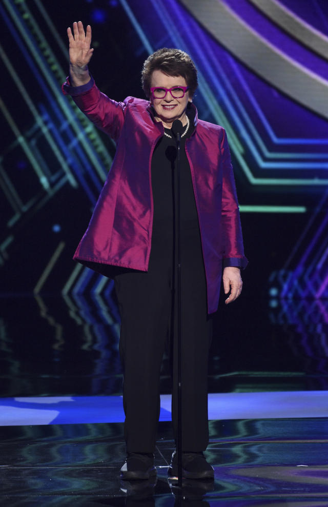 Billie Jean King announces the inaugural Billie Jean King youth leadership award at the ESPY Awards on Wednesday, July 10, 2019, at the Microsoft Theater in Los Angeles. (Photo by Chris Pizzello/Invision/AP)