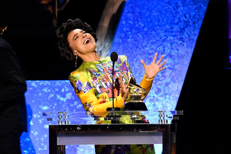 "Esperanza Spalding accepts Michelle Obama's Grammy win for ""Becoming"" and also snagged one of her own: best jazz vocal album for ""12 Little Spells."""