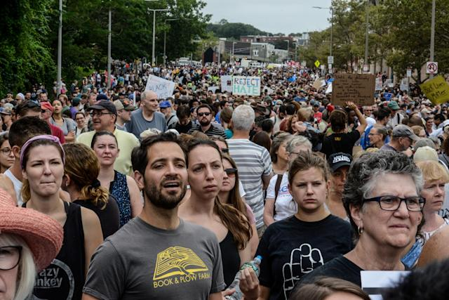 <p>A large crowd of people gathers ahead of the Boston Free Speech Rally in Boston, Mass., August 19, 2017. (Photo: Stephanie Keith/Reuters) </p>