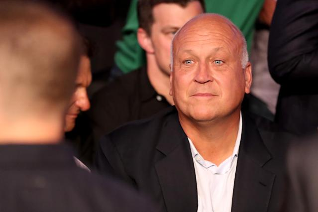 <p>Former MLB pitcher Cal Ripken Jr. attends the super welterweight boxing match between Floyd Mayweather Jr. and Conor McGregor on August 26, 2017 at T-Mobile Arena in Las Vegas, Nevada. (Photo by Christian Petersen/Getty Images) </p>