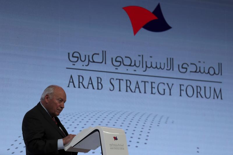 "Former U.S. Vice President Dick Cheney talks to the audience at the Arab Strategy Forum in Dubai, United Arab Emirates, Monday, Dec. 9, 2019. Cheney warned Monday that ""American disengagement"" in the Middle East will benefit only Iran and Russia, indirectly criticizing President Donald Trump's pledges to pull forces out of the region. (AP Photo/Kamran Jebreili)"