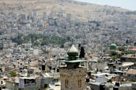 The minaret of the Al-Khadra mosque in the old quarter of the West Bank town of Nablus