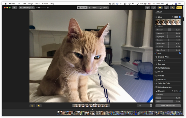 Editing in the new Photos is both easier and more powerful.