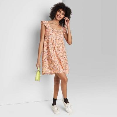 <p>This <span>Wild Fable Ruffle Sleeve On/Off the Shoulder Woven Babydoll Dress</span> ($25) looks charming and playful, and you can wear it with shoes that are currently in your closet.</p>