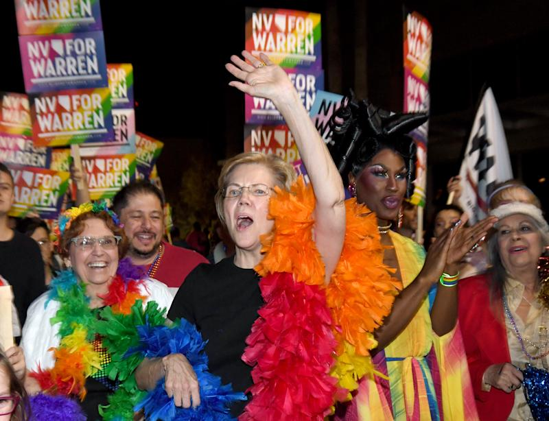 Elizabeth Warren marched in the 22nd annual PRIDE Night Parade on October 11 in Las Vegas, Nevada. (Photo: Ethan Miller/Getty Images)