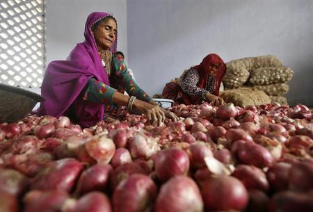 Women sort onions at a wholesale market in Ahmedabad February 4, 2013. REUTERS/Amit Dave/Files