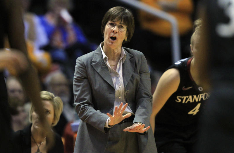 Stanford head coach Tara VanDerveer directs her team in the first half of an NCAA college basketball game against Tennessee on Saturday, Dec. 22, 2012, in Knoxville, Tenn. Stanford won 73-60. (AP Photo/Wade Payne)