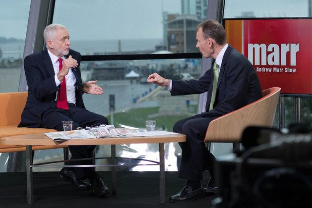 Labour leader Jeremy Corbyn is interviewed by the BBC's Andrew Marr in Liverpool, during the party's annual conference in the city.