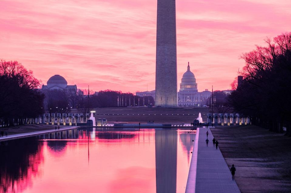 Washington, D.C., Lincoln Memorial Reflecting Pond Sunrise