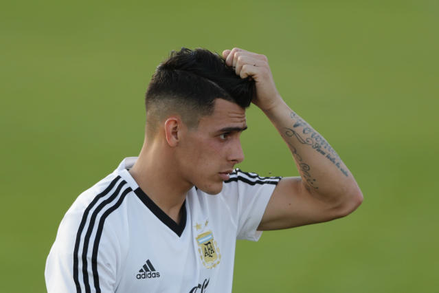 Cristian Pavon during a training session of Argentina at the 2018 soccer World Cup in Bronnitsy, Russia, Monday, June 18, 2018. (AP Photo/Ricardo Mazalan)