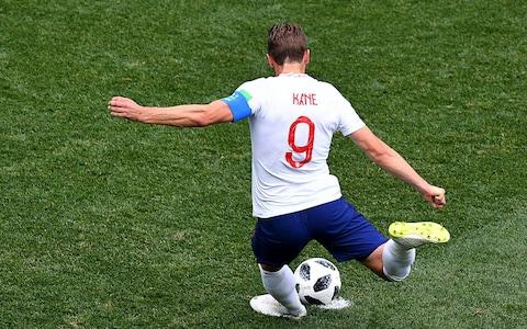 Harry Kane strikes the penalty - Credit: JOHANNES EISELE/AFP/Getty Images