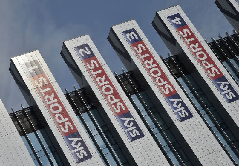Sky Sports logos are seen on the side of offices at their UK company headquarters in west London