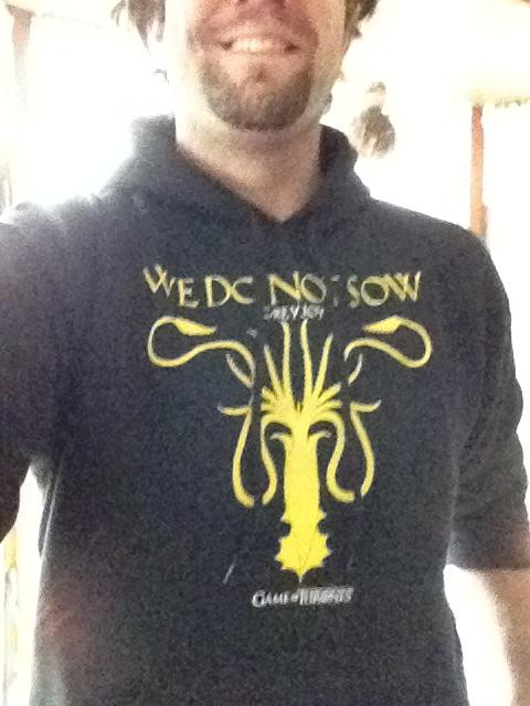 "<a href=""https://twitter.com/#%21/mheinz8"">@mheinz8</a> wears his ""<a href=""http://tv.yahoo.com/game-of-thrones/show/41208/"">Game of Thrones</a>"" Greyjoy hoodie with pride."