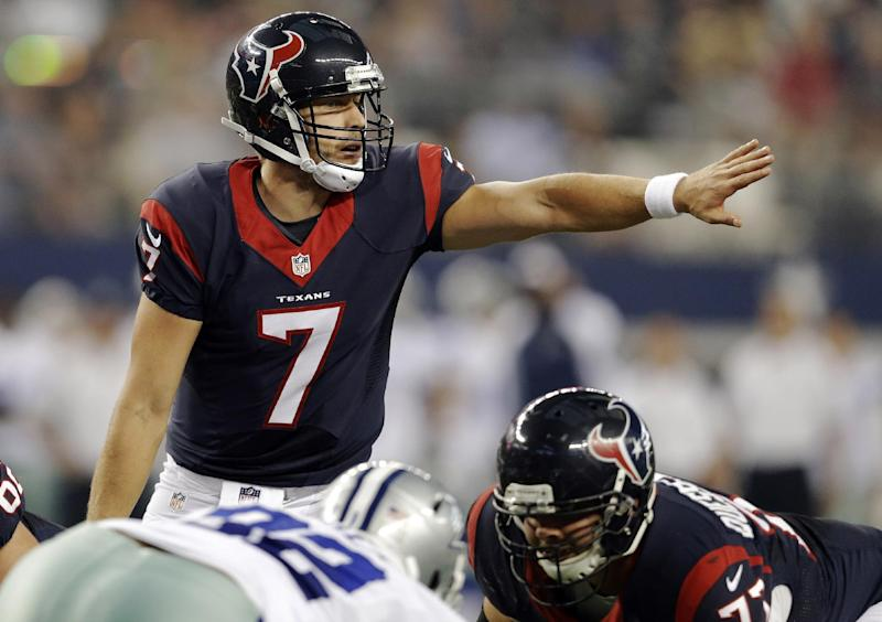 FILE- In this Aug. 29, 2013, file photo, Houston Texans quarterback Case Keenum (7) calls a play at the line of scrimmage during the first half of a preseason NFL football game against the Dallas Cowboys in Arlington, Texas. Keenum will start at quarterback for the Texans on Sunday at unbeaten Kansas City. Coach Gary Kubiak says Matt Schaub, who is dealing with injuries to his right ankle and foot, won't play this week. (AP Photo/LM Otero, File)