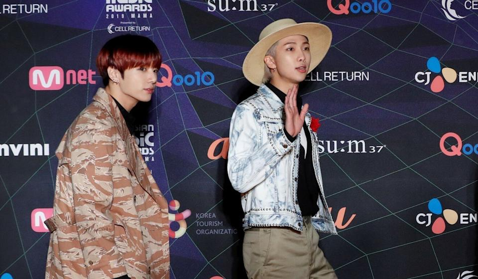 Jungkook and RM of South Korean boy band BTS attend the MAMA Awards in Nagoya, Japan in December last year. Photo: Reuters