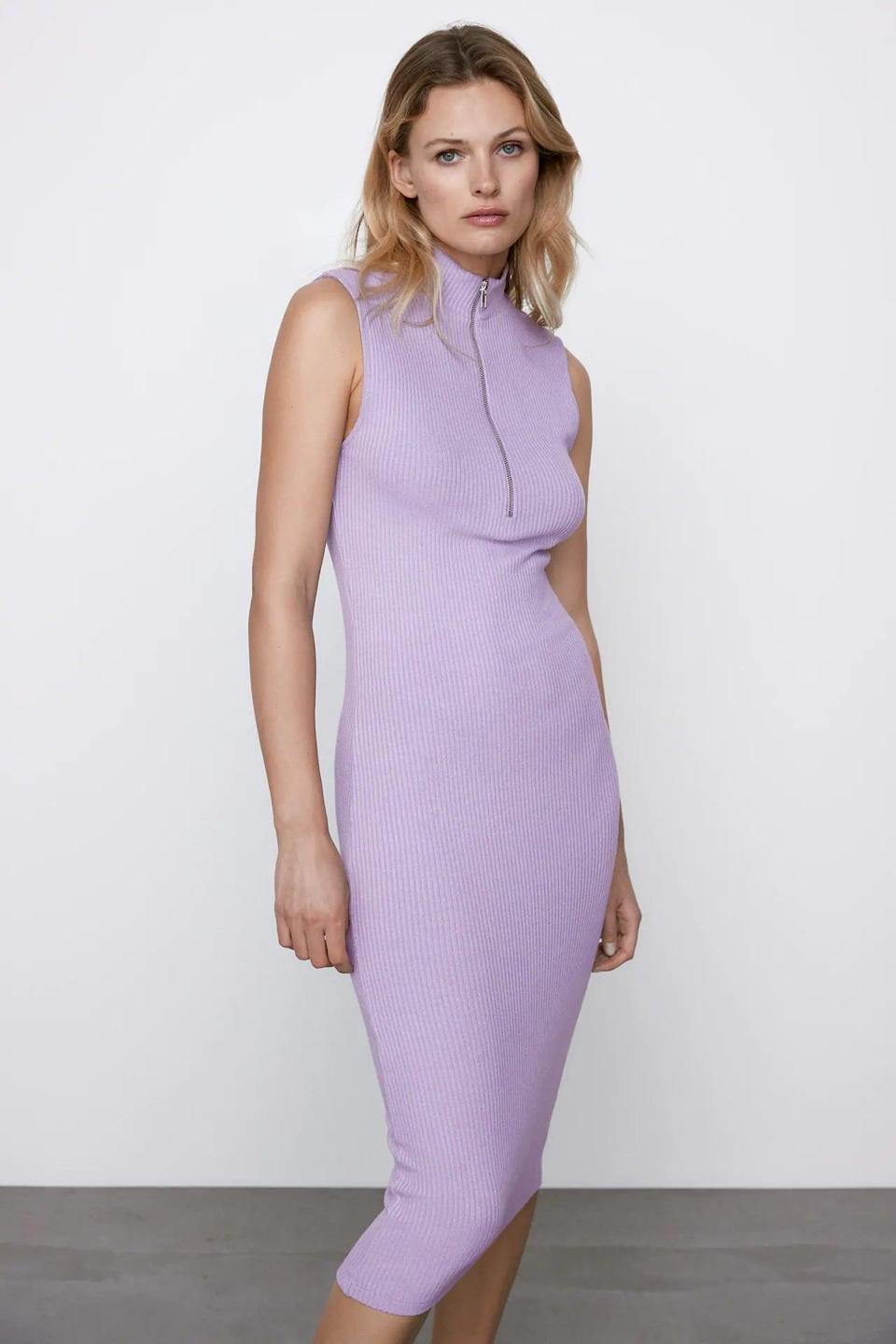 <p>The color of this <span>Zara Ribbed Zippered Dress</span> ($30) is perfect for spring.</p>